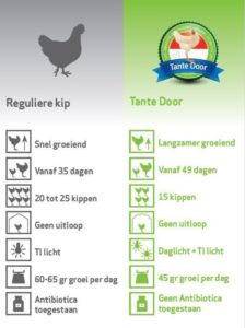 Tante Door kip vs reguliere kip